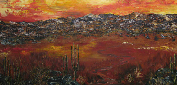Mystic Desert Print featuring the painting Mystic Desert by Linda Eversole
