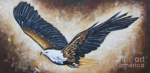 Eagle Print featuring the painting On Eagle's Wings by Ilse Kleyn