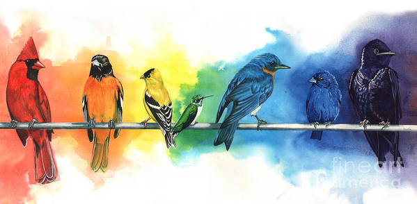 Rainbow Print featuring the painting Rainbow Birds by Antony Galbraith