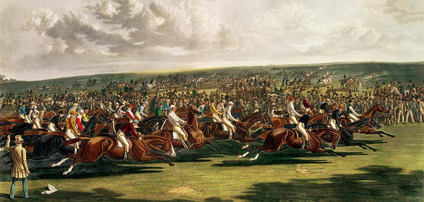 Horse Racing Print featuring the painting The Start Of The Memorable Derby Of 1844 by Charles Hunt