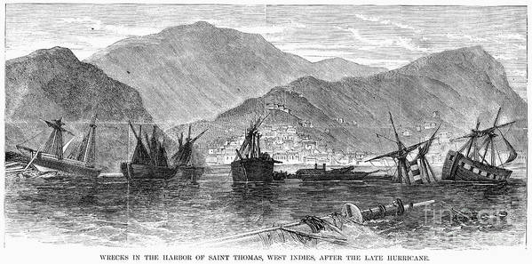 1867 Print featuring the photograph St. Thomas: Hurricane, 1867 by Granger