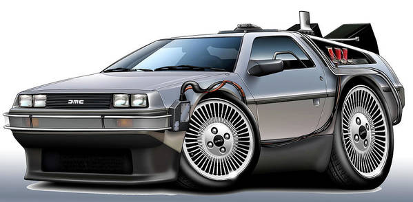 Delorean Print featuring the digital art Delorean Back To The Future by Maddmax