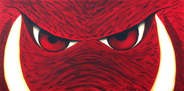 Arkansas Razorback Print featuring the painting Hog Eyes 2 by Amy Parker