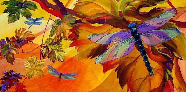 Dragonfly Print featuring the painting Morning Dawn by Karen Dukes