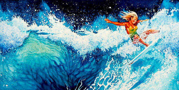 Sports Art Print featuring the painting Surfer Girl by Hanne Lore Koehler