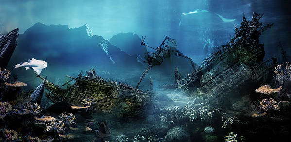Landscape Print featuring the digital art The Wreck by Mary Hood