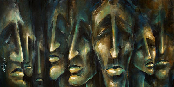 Expressionist Print featuring the painting ' Jury Of Eight ' by Michael Lang