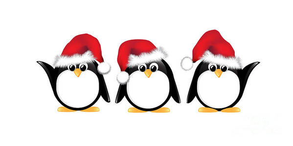 Adorable Print featuring the photograph Christmas Penguins Isolated by Jane Rix