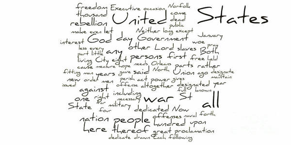 Abraham Lincoln Print featuring the photograph Gettysburg Address-emancipation Proclamation-second Inaugural Address-word Cloud by David Bearden