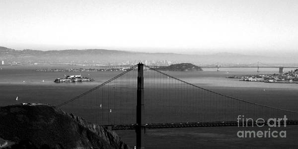 Golden Gate Bridge Print featuring the photograph Golden Gate And Bay Bridges by Linda Woods