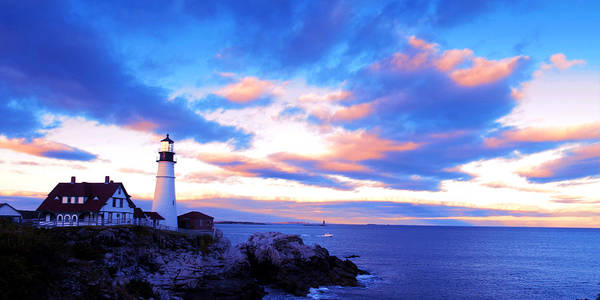 Sunset Print featuring the photograph Sunset In Fork Williams Lighthouse Park Portland Maine State by Paul Ge