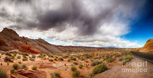 Nevada Print featuring the photograph Valley Of Fire With Dramatic Sky by Jane Rix