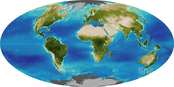 Biosphere Print featuring the photograph Average Plant Growth Of The Earth by Stocktrek Images