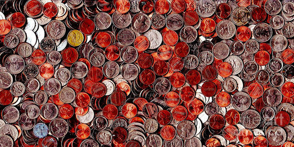 Kitsch Print featuring the photograph Loose Change . 2 To 1 Proportion by Wingsdomain Art and Photography