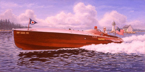 Boat Print featuring the painting Elusive by Richard De Wolfe
