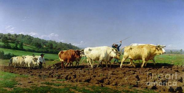 Ploughing Print featuring the painting Ploughing In Nivernais by Rosa Bonheur
