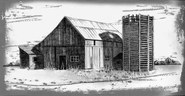 Barn Print featuring the drawing Barn And Silo Distressed Version by Joyce Geleynse
