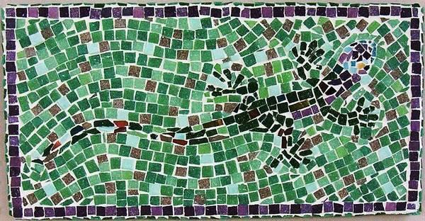 Gecko Print featuring the ceramic art Gecko by Jamie Frier