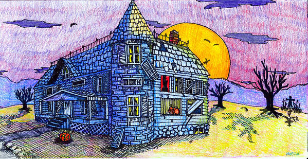House Print featuring the drawing Spooky House by Jame Hayes