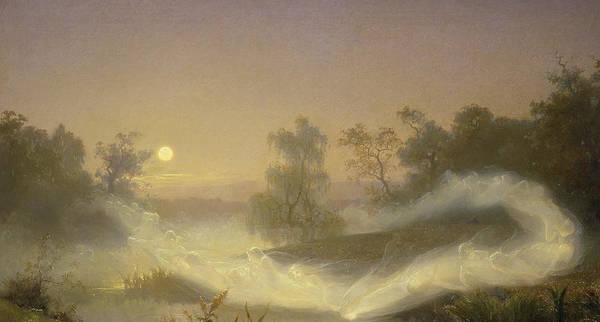 Spirit Print featuring the painting Dancing Fairies by August Malmstrom