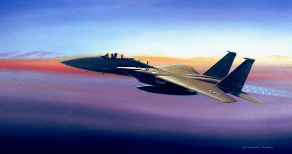 Mcdonnell Douglas Print featuring the painting Advantage Eagle by Michael Swanson