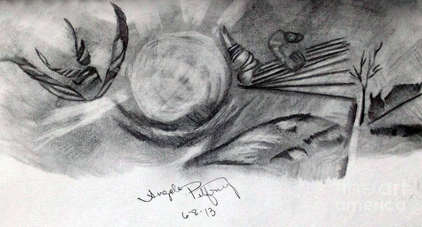 Landscape Print featuring the drawing Crystal Ball by Angela Pelfrey