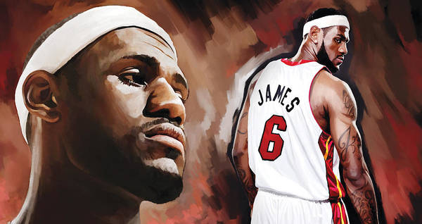 Lebron James Print featuring the painting Lebron James Artwork 2 by Sheraz A