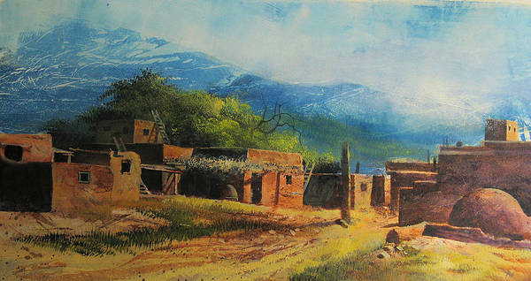Landscape Print featuring the painting Southwest Village by Robert Carver