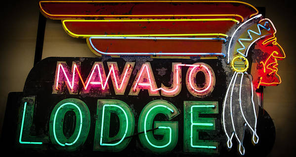 Old Signs Print featuring the photograph The Navajo Lodge Sign In Prescott Arizona by David Patterson