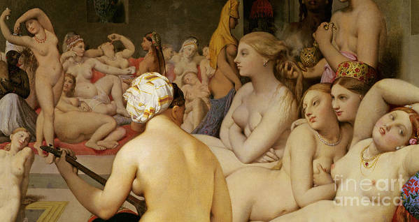 Nude Print featuring the painting The Turkish Bath by Ingres