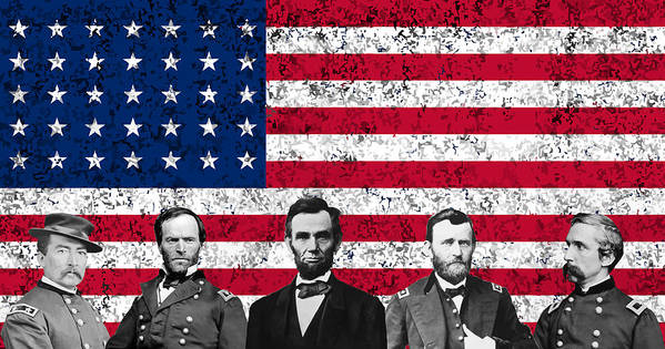 Abraham Lincoln Print featuring the digital art Union Heroes And The American Flag by War Is Hell Store