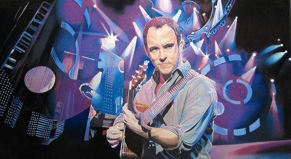 Dave Matthews Print featuring the drawing Dave Matthews And 2007 Lights by Joshua Morton