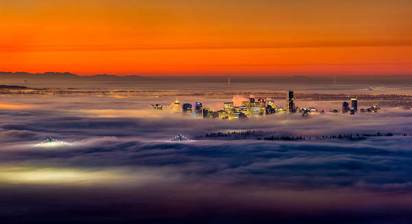 Vancouver Print featuring the photograph Foggy Sunrise by Alexis Birkill