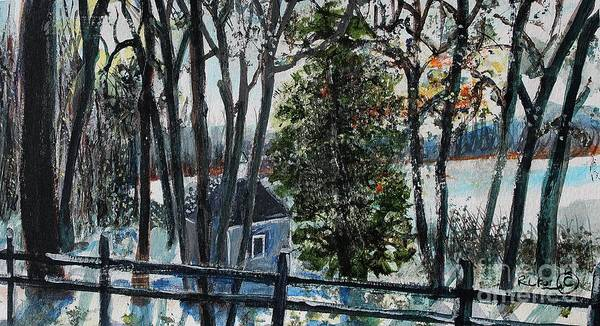 Walden Pond Print featuring the painting Out Of The Woods At Walden Pond by Rita Brown