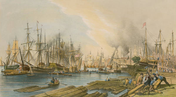 Boat Print featuring the painting Ship Building At Limehouse by William Parrot