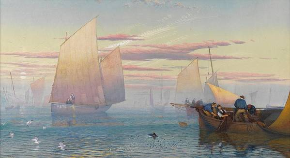 Hauling In The Nets (w/c Heightened With Bodycolor)seascape; Fishing Boats; Fishing Boats; Fishermen; Net; Sea; Seascape Print featuring the painting Hauling In The Nets by JB Pyne