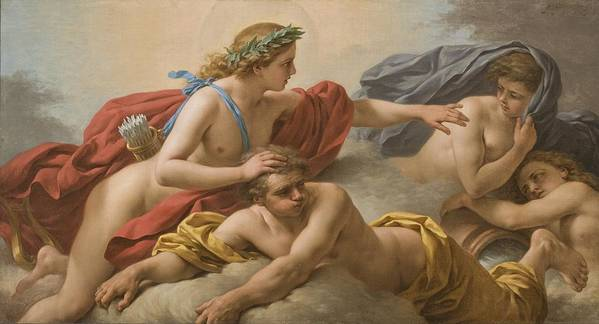 Allegory Print featuring the painting Midday by Louis Jean Francois I Lagrenee
