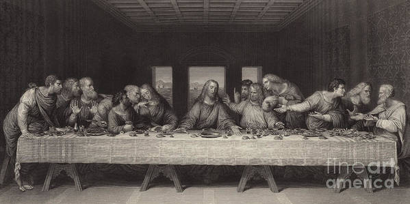 The Last Supper Print featuring the painting The Last Supper by Leonardo da Vinci