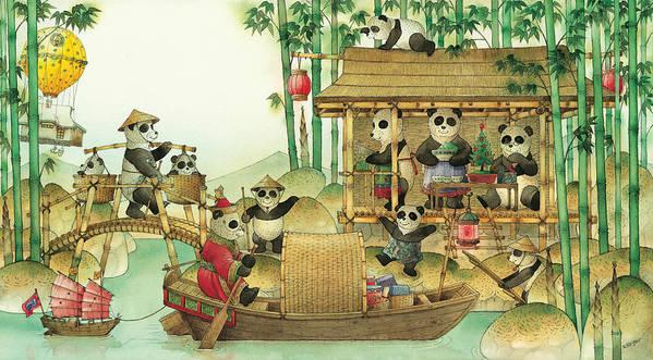 Christmas Greeting Cards Panda China Print featuring the painting Pandabears Christmas 03 by Kestutis Kasparavicius