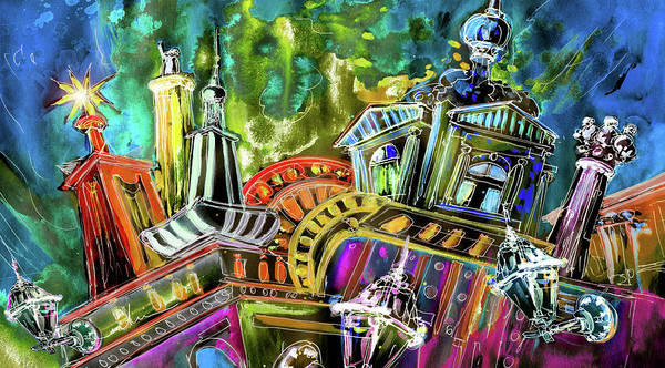 Czech Republic Print featuring the painting The Magical Rooftops Of Prague 02 by Miki De Goodaboom