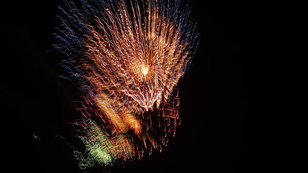 Fireworks Print featuring the photograph 4th Of July by April Lerro