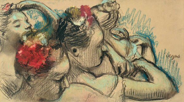 Impressionist Print featuring the drawing Dancers by Edgar Degas