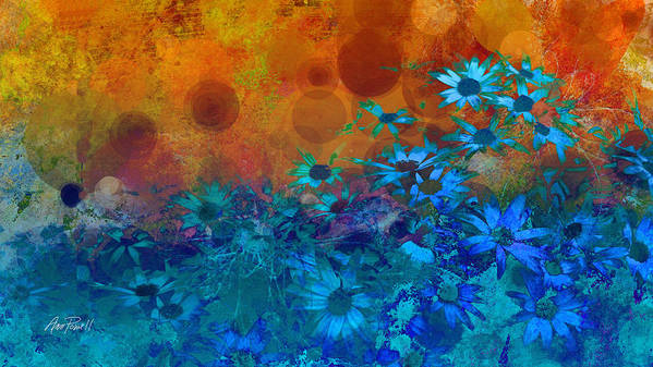 Flower Print featuring the photograph Flower Fantasy In Blue And Orange by Ann Powell