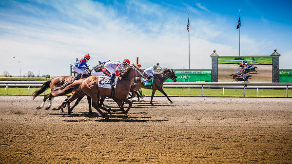 Keeneland Print featuring the photograph Keeneland Racing by Keith Allen