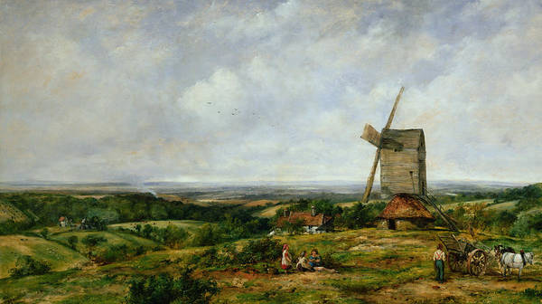 Children Print featuring the painting Landscape With Figures By A Windmill by Frederick Waters Watts
