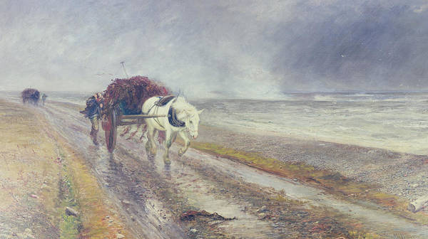 Horse Print featuring the painting Spindrift by John MacWhirter