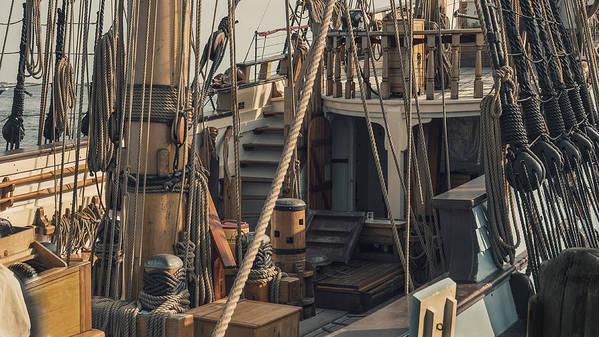 Tall Print featuring the photograph Tall Ship Kalmar Nyckel Ropes by Dapixara Art