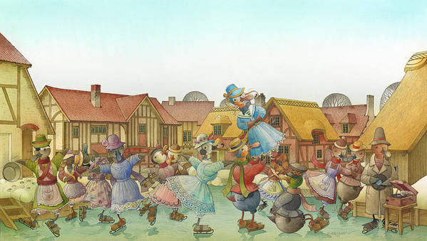 Christmas Winter White Ice Duck Dance Skating Landscape Animals Birds Holiday Print featuring the painting The Shaky Knight 06 by Kestutis Kasparavicius