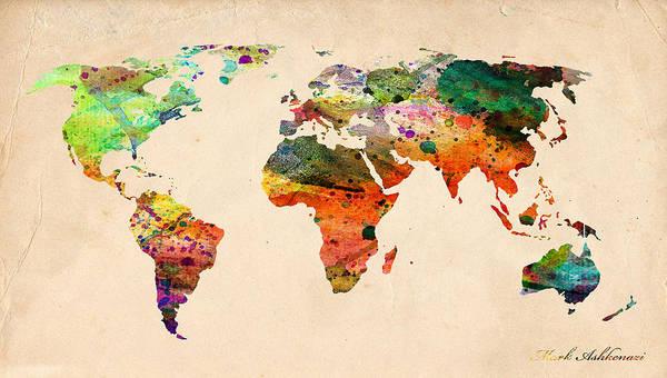 Landmark Print featuring the digital art Watercolor World Map by Mark Ashkenazi