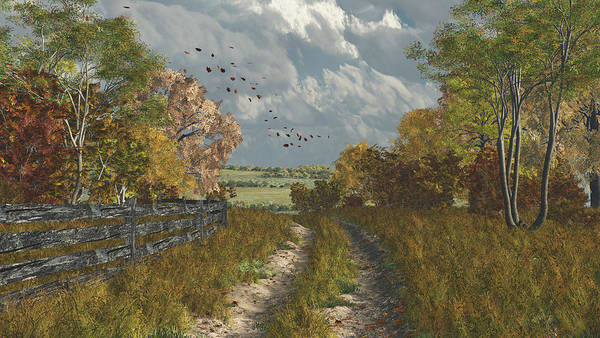 Fall Print featuring the digital art Country Lane In Fall by Jayne Wilson